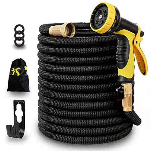 50ft Expandable Garden Water Hose,3750D Natural Latex Core,Super Strong Brass Connectors,10 Function Spray Nozzle,Super Strength Fabric,Flexible Garden Hose For Water Plants,Shower Dogs,Wash Cars