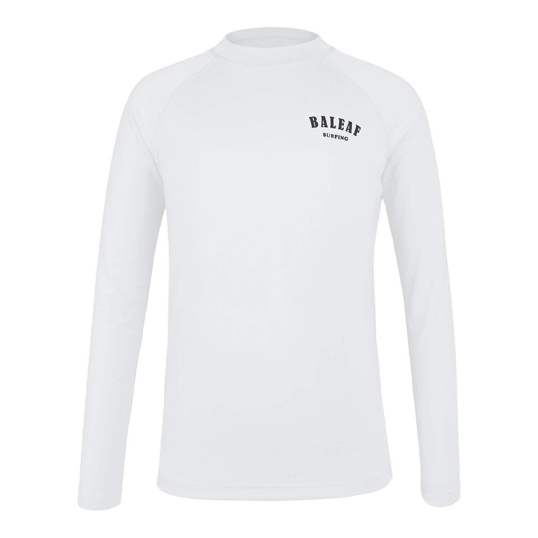 Baleaf Boys' Athletic Shirts Long Sleeve Rashguard Quick Dry Swim Top UPF 50+ Shirt White L by Baleaf