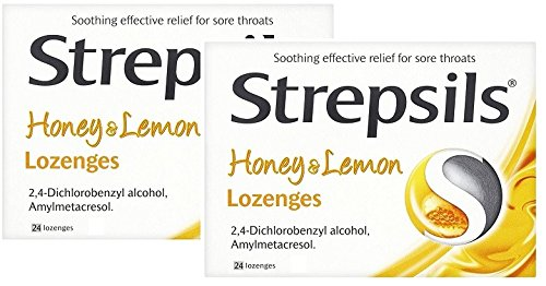 Strepsils Honey & Lemon 24 Lozenges 2 Pack (Best Lozenges For Sore Throat Uk)