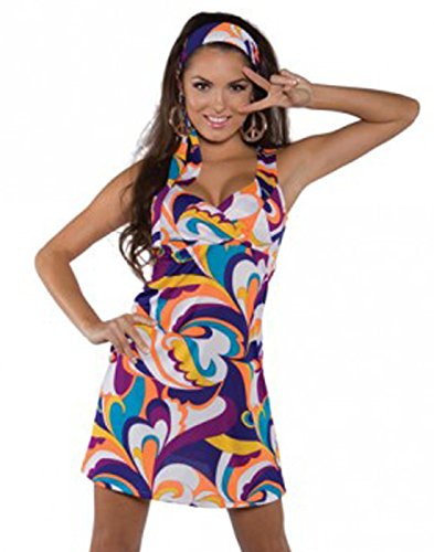 Underwraps Costumes Women's Retro Hippie Costume - Peace, Purple/Orange/Blue/White, ()