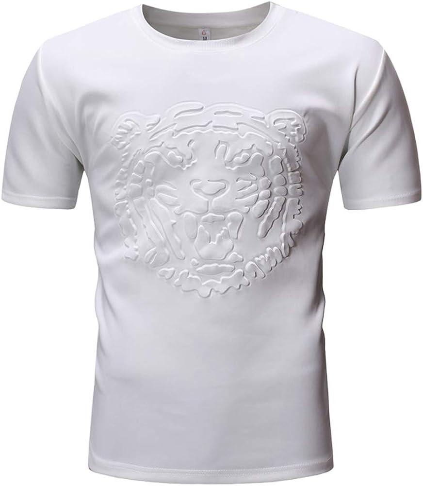 Mr.BaoLong&Miss.GO Hombres Camiseta Casual Color Sólido Camiseta De Manga Corta Camiseta con Estampado De Cabeza De Tigre De Moda Camiseta De Cuello Redondo De Gran Tamaño Camiseta: Amazon.es: Ropa y accesorios