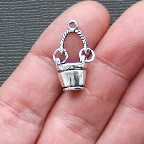 Amulet Zipper Pull - 20 Bucket Charms Antique Silver Tone 24x14mm 3D Details with Hinged Handle (CB120)