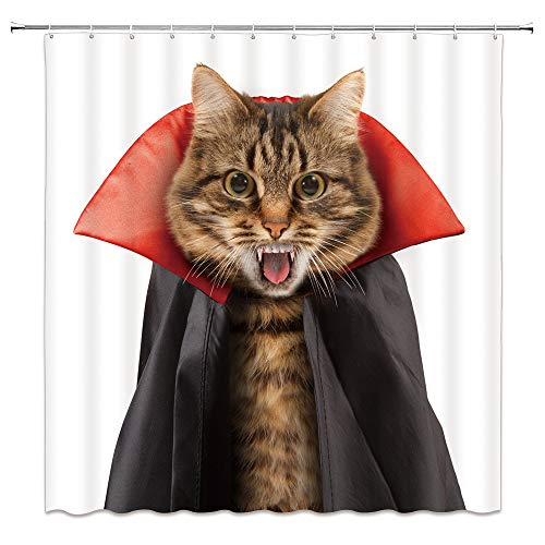 Cat Shower Curtain Funny Kitty Pet Vampire Halloween Animal Creative Devil Bathroom Decor Polyester Fabric Waterproof 70 x 70 Inches Include Hook White Black
