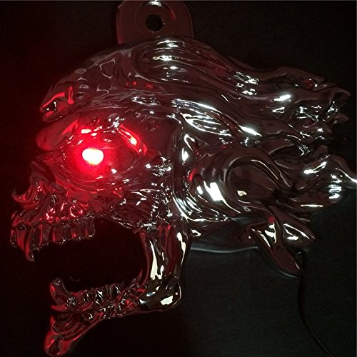 NBX-Chrome Ghost Head Wind head horn cover For 1992 and up Harley-Davidson with side mount''cowbell'' and all V-rod's with LED light