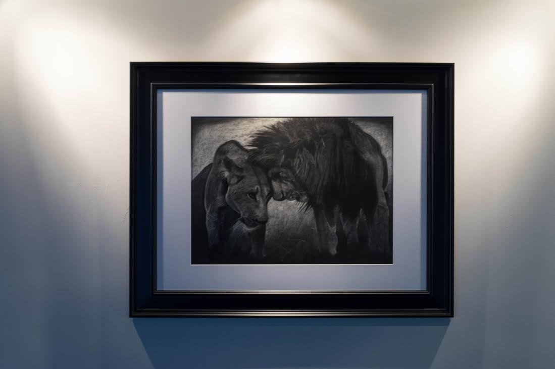 Lion Love charcoal drawing, lion art, original hand signed drawing