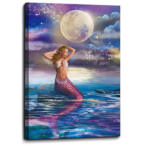 Bathroom Wall Decor Mermaid Picture Print on Canvas Framed Wall Art for Bedroom Living Room Girls Room Pink Mermaid in…