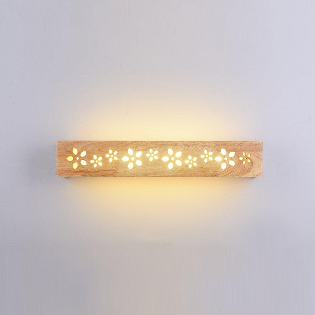 JXXDQ -Badezimmerbe leuchtung Wash Spiegellinse, geschnitzten Spiegel Scheinwerfer, Gummi Holz + Eisen + Acryl, natürliche Holzfarbe -langlebig (Farbe   Warmes weißes Licht-35CM 8W)