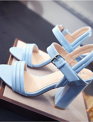 ShangYi Womens Shoes Leather Chunky Heel Heels Sandals Office & Career / Dress / Casual Black / Blue / White / Nude Yellow