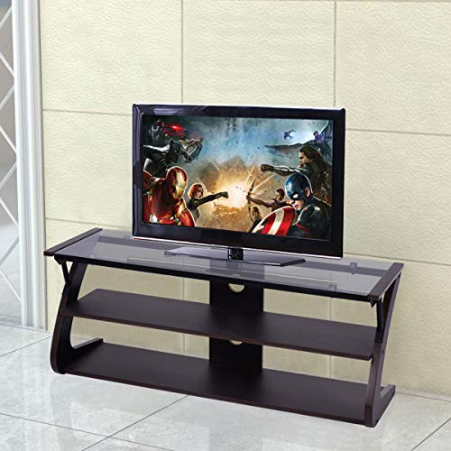 Center Glass Entertainment Steel - Tangkula Universal TV Stand 3-Tire TV Stand Storage Console with Storage Shelves for Home Office Sturdy & Stable Construction Display Cabinet TV Entertainment Center Console (Glass Top)