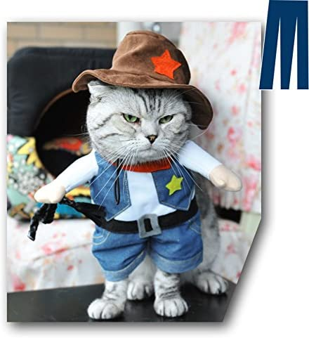 Mikayoo Pet Dog Cat Halloween Costumes,The Cowboy for Party Christmas Special Events Costume,West Cowboy Uniform with Hat,Funny Pet Cowboy Outfit Clothing for Dog cat 36