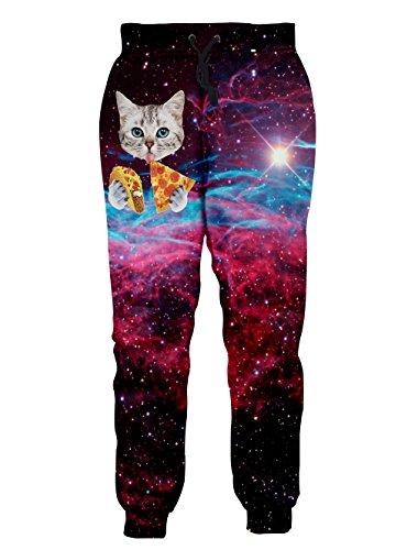 (Leapparel Men/Women 3D Joggers Pants Trousers Sport Track Sweatpant Baggy (XXL, Pizza Cat) )