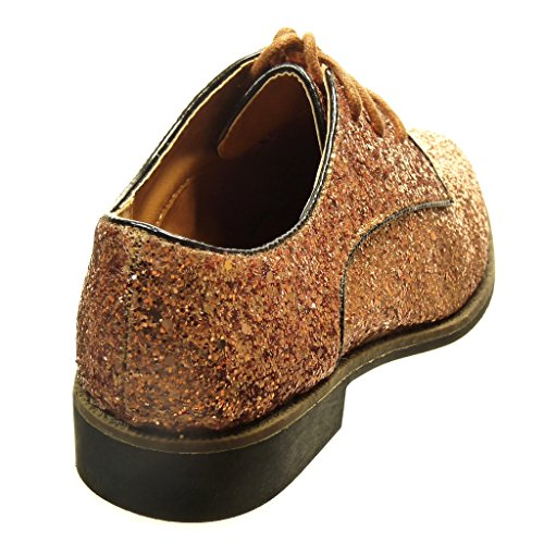 Angkorly - damen Schuhe Derby-Schuh - glitzer Blockabsatz 2.5 CM - Champagner