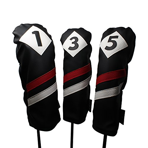 - Majek Retro Golf Headcovers Black Red and White Vintage Leather Style 1 3 5 Driver and Fairway Head Covers Fits 460cc Drivers Classic Look
