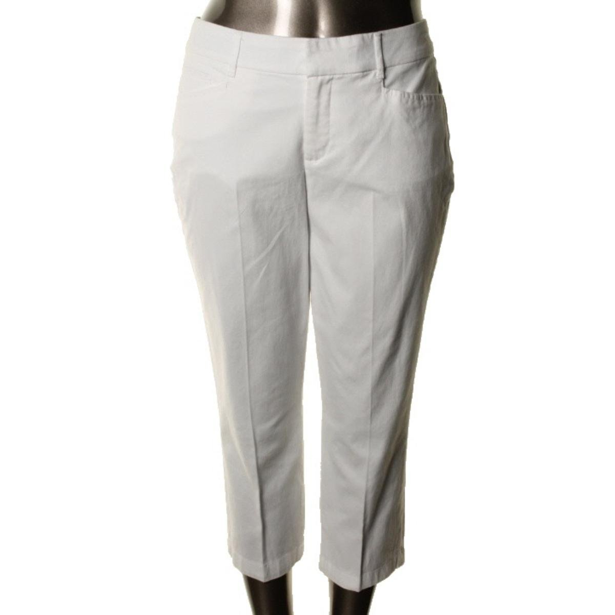 JM Collection Womens Plus Twill Tummy Slimming Cropped Pants White 24W