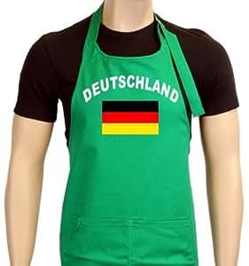 Coole-Fun-T-Shirts Grillschürze EM 2012 Deutschland Flagge - Boxer, unisex, color verde, talla Talla única