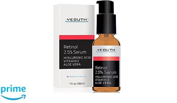 Retinol Sérum 2,5% con ácido hialurónico, aloe vera, vitamina E - aumenta la producción de colágeno, reduce las arrugas, líneas finas, incluso tono de piel, ...