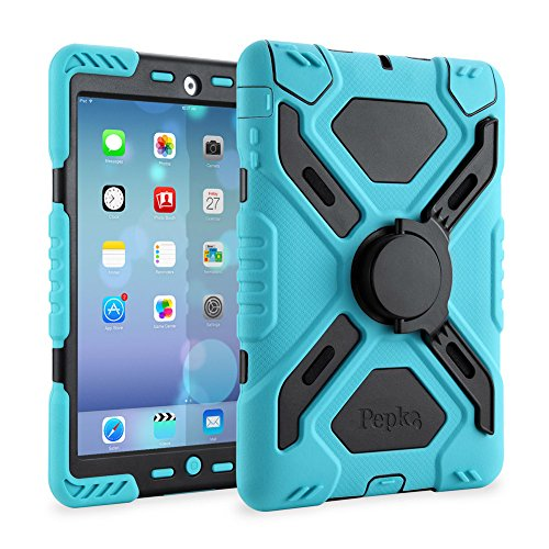 Pepkoo Ipad 2/3/4 Case Plastic Kid Proof Extreme Duty Dual Protective Back Cover with Kickstand and Sticker for Ipad 4/3/2 - Rainproof Sandproof ...