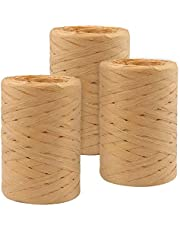 Raffia Paper Ribbon 328 Yards Natural Raffia String Kraft Craft Packing Paper Twine for Gifts DIY Supplies Flower Bouquets Decorations