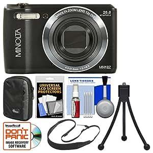 Minolta MN12Z OIS 12x Zoom Wi-Fi Digital Camera (Black) with 8GB Card + Case + Flex Tripod + Sling Strap + Kit
