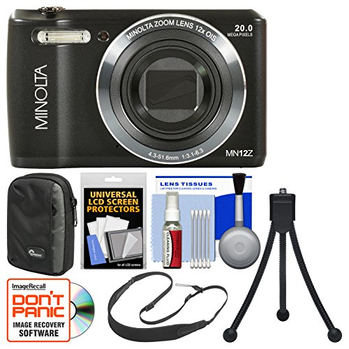 Minolta MN12Z OIS 12x Zoom Wi-Fi Digital Camera (Black) with 8GB Card + Case + Flex Tripod + Sling Strap + Kit