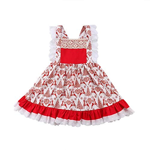 HESHENG Baby Girl Christmas Dress Kid Lace Strap Deer Printed Romper Newborn Sleeveless Clothes Outfits Set (Little red, -