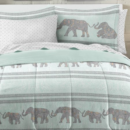 Loft Style Boho Elephant Ultra Soft Microfiber Comforter Set, Twin, Light Blue