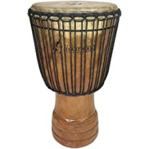 "Hand-carved Djembe Drum From Africa - 14""x25"" Oversize with Big Bass"