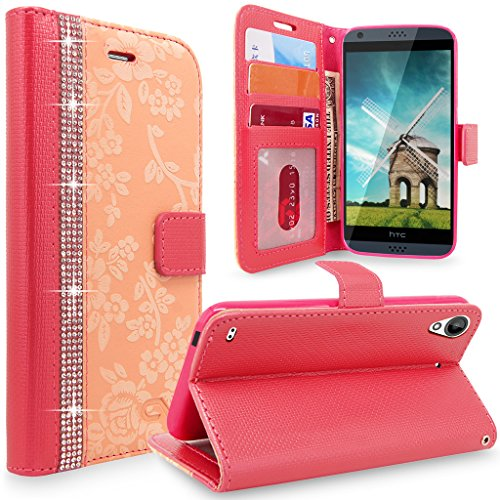 HTC Desire 530 Case, Cellularvilla [Diamond] Embossed Flower Design Premium Pu Leather Wallet Case [Card Slot] [Stand Feature] Protective Folio Flip Cover For HTC Desire 530 (Peach Pink Bling)