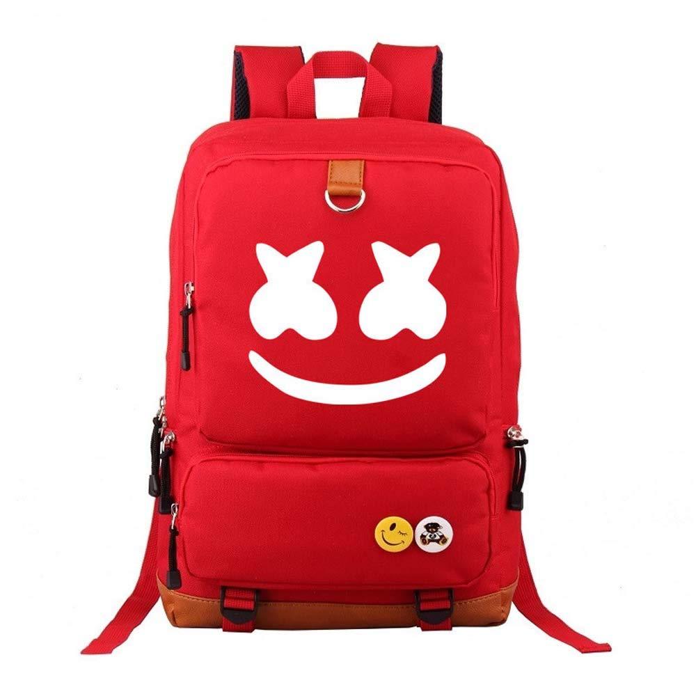 Marshmello face Alone DJ Backpack Book Bag Marshmello Children School Bags Men Women Hip Hop Backpack for Girls and Boys (Black)