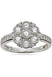 Sterling Silver Created White Sapphire Cluster Ring
