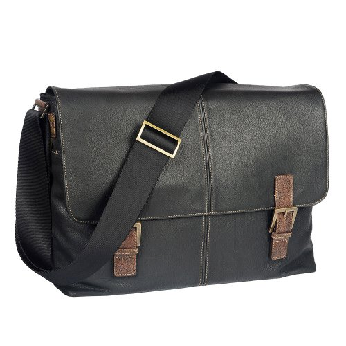 BOCONI Men's Hendrix Double Buckle Messenger in Oldwood Black w/ green plaid by Boconi