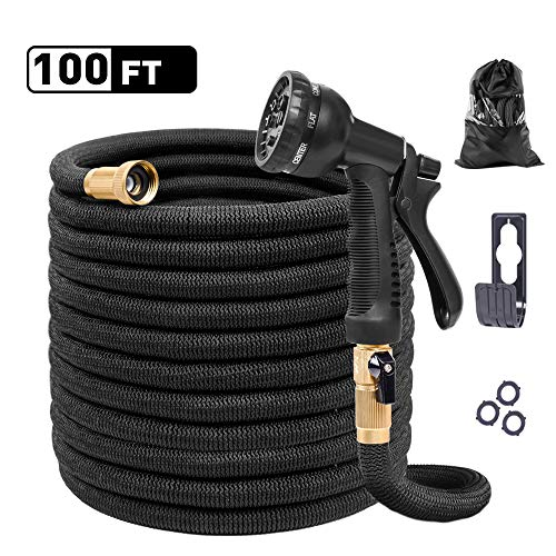 (KAREEME Expandable Garden Hose 100FT Black Lightweight Water Hose with 8 Function Spray Nozzle and Durable 4-Layers Latex, 3750D Extra Strength Fabric, 3/4