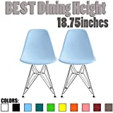 2xhome Set of 2 Blue Desk Chair Mid Century Modern Plastic Molded Shell Assembled Chairs Chrome Wire Metal Eiffel Side Armless No Arms DSW for Work Office Dining Living Kitchen Bedroom