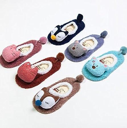 Fendii New stereo cartoon doll baby socks non-slip baby socks Light blue L