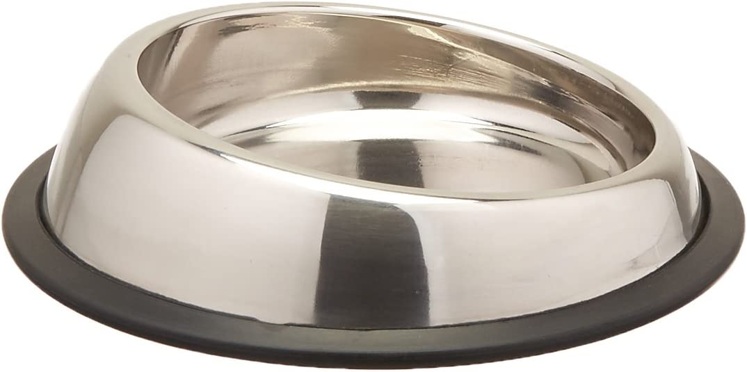 Iconic Pet Heavy Weight Stainless Steel Elevated High Back Pet Food / Water Bowl in Varying Sizes with Removable Anti Skid Rubber Ring, Dog / Cat Feeding Bowl in Unique Design is Dishwasher Safe