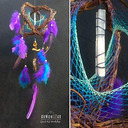 Dreamcatcher 3D DreamCatcher Violet Blue with Natural Selenite ()