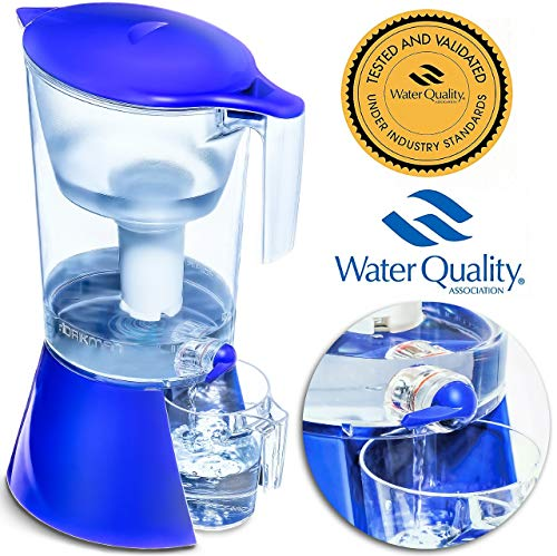 DRIKMAN Universal Water Filter Pitcher - Water Purifier Pitcher - Water Pitcher with Filter - Filtered Water Dispenser with Stand - 1 Gallon Pitcher - Filtered Water Pitchers (Blue)