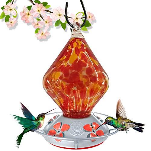 Grateful Gnome - Hummingbird Feeder - Hand Blown Glass - Red Cube 18 Fluid Ounce