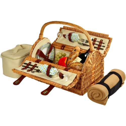 - Picnic at Ascot Huntsman English-Style Willow Picnic Basket with Service for 4 and Blanket- Designed, Assembled & Quality Approved in the USA