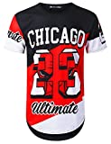 URBANTOPS Mens Hipster Hip Hop Colorblock Chicago 23 Longline T-Shirt Black, XXL