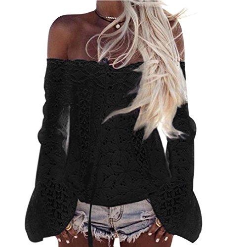 Tsmile Women Blouse Summer Off Shoulder Lace Floral Long Sleeve Fashion Loose Round Collar Black Tops T-Shirt (Black, XL) ()
