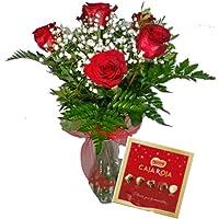 EL JARDÍ D´ESTHER-Ramo de 6 rosas rojas naturales y caja de bombones-FLORES FRESCAS- ENTREGA EN 24 HORAS
