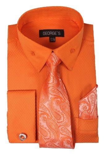 - George's Dress Shirt w/ Matching Tie,Hankie,Cuff & Cufflink AH619-Orange-20-20 1/2 -36-37