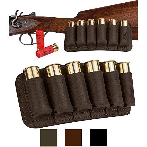 - BronzeDog Shell Holder Shotgun Ammo Pouch 12 16 Gauge Genuine Leather Bullet Wallet Cartridge Bag Ammunition Carrier Hunting Accessories (Brown)