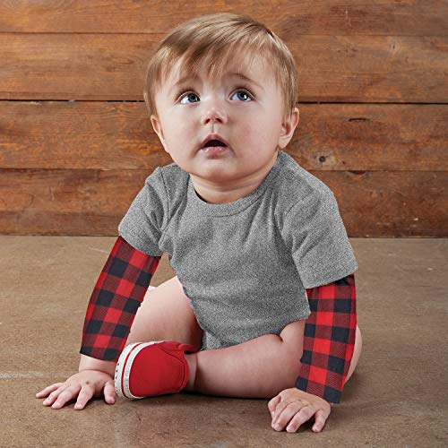 Stephan Baby Snapshirt-Style Diaper Cover with Tattoo Sleeves, Buffalo Checks, Gray, Fits 6-12 Months (F4800)