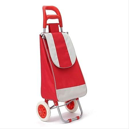 MYKK Carro de Compra Plegable Caja De Carrito De Compras con Rueda Push Carro Cesta Cesta Rueda De Equipaje Oxford Tela 960 x 370 x 330mm Rojo: Amazon.es: Hogar