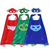 Cape and Mask Set Dress Up Costume 3 Characters - Catboy, Gekko & Owlette