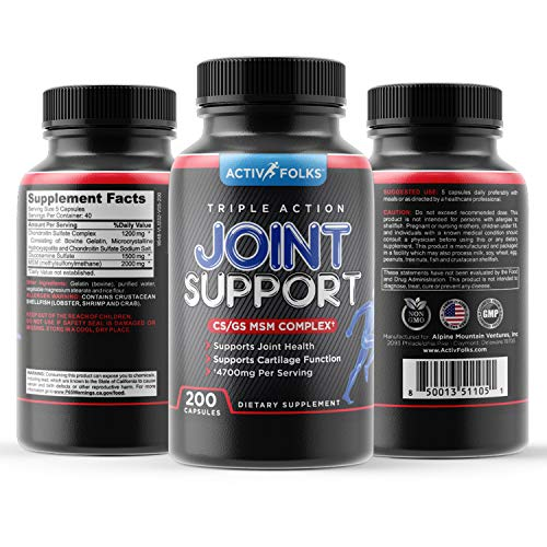 Activ Folks Joint Support Supplement 200 Caps with Glucosamine, Chondroitin MSM – 4700mg, Anti-Inflammatory, Antioxidant for Aches, Soreness Inflammation – Promotes Healthy Joint Functions