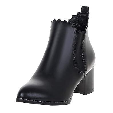 UH Damen Chunky Stiefeletten Chelsea Boots mit Blockabsatz