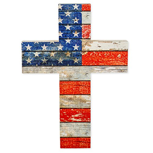 (American Flag Red White and Blue Distressed 7 x 5 Wood Wall Art Cross Plaque)